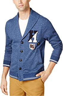 Shawl Collar Patch Accented Cardigan Sweater