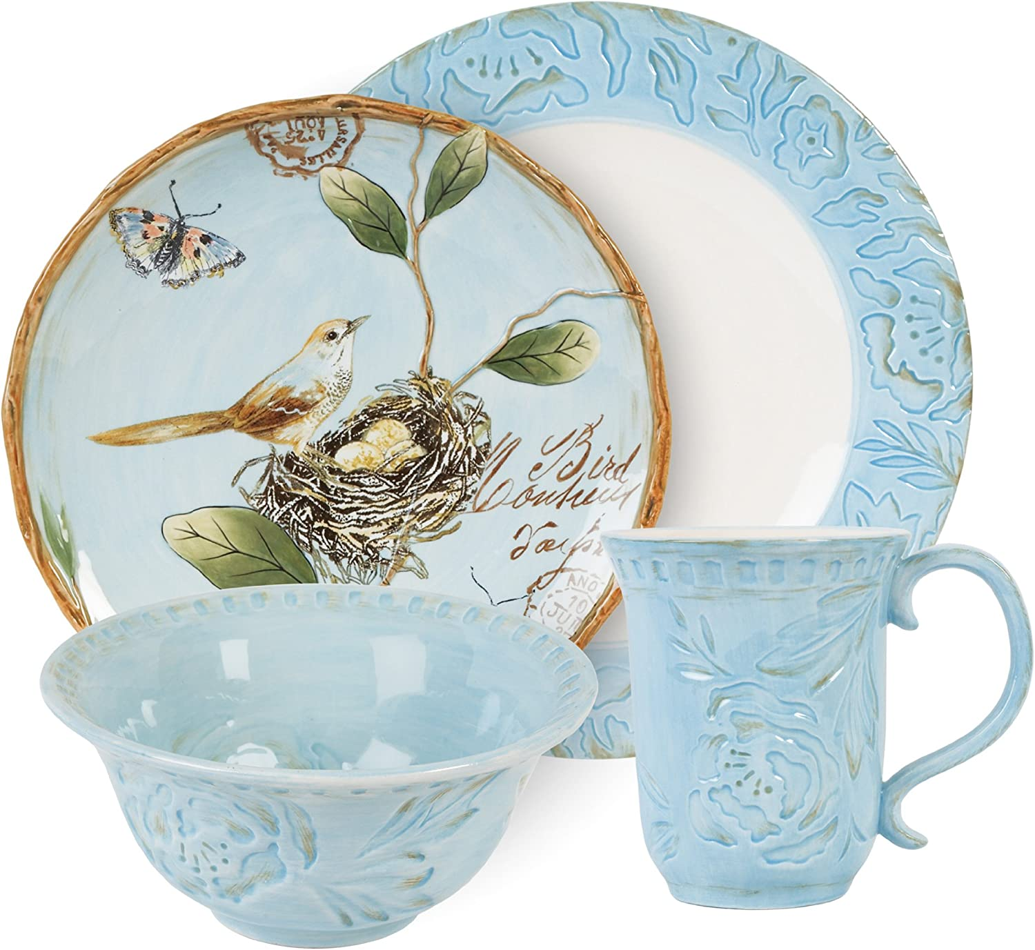 Toulouse Collection, 4-Piece Dinnerware Set, bluee