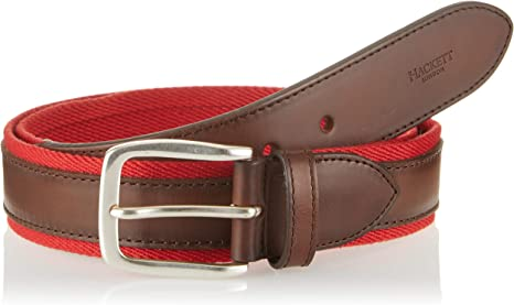 TALLA 125 (Talla del fabricante: 34). Hackett London Bi Colour Lthr/Web Cinturón para Hombre