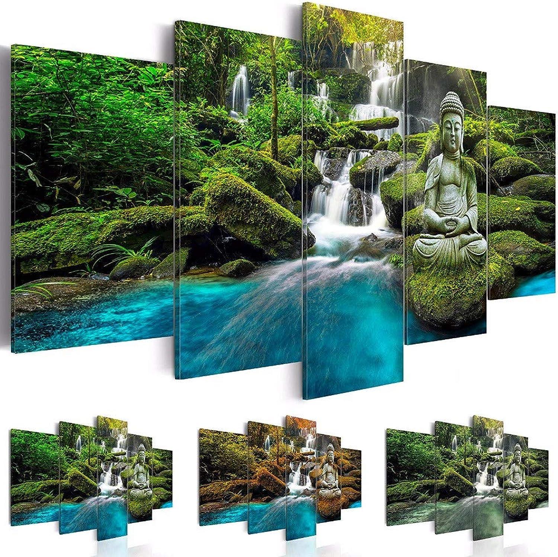 ERQINGWL 5 Piezas de Pintura de la Lona Lienzo Arte de la Parojo Fotos para Sala de Estar 5 Unidades Estatua de Buda Pintura Impresiones modulares Naturaleza verde Cartel decoración para el hogar