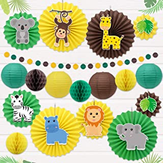 Safari Jungle animal Party Decoration Wild Themed Hanging Paper Fans Rosettes Lanterns Tissue Honeycomb Ball Circle Dot Garland for Zoo Animals Baby Shower Wild One Cake Smash Jungle Birthday Party Supplies Backdrop Decor