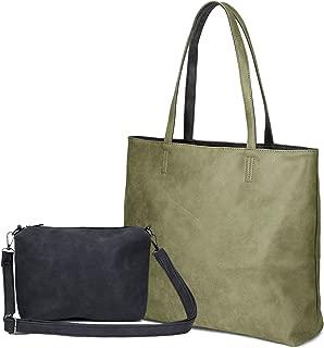 Women's Two Colors Shoulder Bags PU Leather Tote Top Handle Satchel Purse Set 2pcs