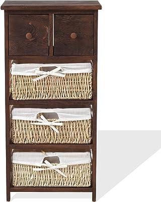 Rebecca Mobili Table de Chevet Meuble de Rangement 5 Tiroirs Bois Osier Marron Beige Rustique Country Cuisine Bain - 80 x 40 x 27 cm (H x L x P) - Art. RE4059