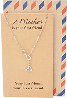 Quan Jewelry Infinity Heart Necklace, Mother's Day Edition, Gifts for Mom or Mother in law Meaningful Gift, Mother Daughter Christmas Gift, Infinite Love Symbol Pendant, Handmade in Silver Tone