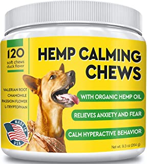 Pawfectchow Calming Hemp Treats for Dogs - Made in USA - Hemp Oil - Dog Anxiety Relief - Aids Stress Barking Separation - Aggressive Behavior - 120 Ct