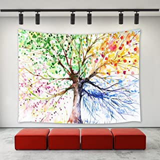LBKT Custom Tree Life Tapestries Colorful Abstract Watercolor Art Hand Painted Illustration Four Season Tree Tapestry Wall Hanging Bedroom Living Room Dorm 60