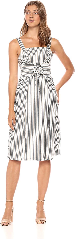 Ali & Jay Womens Iconic Sleeveless Square Neck Midi Dress with Corset Detail Dress