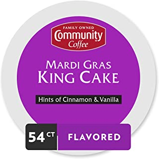 Community Coffee Mardi Gras King Cake Flavored Single Serve Pods, Compatible with Keurig 2.0 K Cup Brewers, 54 Count