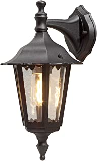 Konstsmide Firenze Small Down Outdoor Wall Light / 1 x 60 W E27 Max Wall Lamp / Clear Glass Panels / Aluminium / IP43 / Ou...