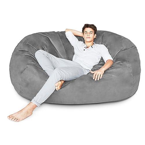 9fbfd3b4df5c Lumaland Luxury 6-Foot Bean Bag Chair with Microsuede Cover Dark Grey