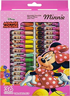 GulfDealz Disney Minnie Mouse Oil Pastels Set Non Toxic Crayons For Kids 36 Assorted Colors Soft Chalk Pastels School Supp...