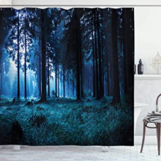 Ambesonne Room Decorations Collection, Night Scene of Autumn Forest in Thuringia Germany Foggy Pine Trees with Greenery Image, Polyester Fabric Bathroom Shower Curtain Set with Hooks, Navy Blue
