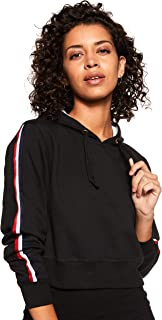 WOKNIT Full Sleeve Solid Women's Hooded Crop Black Sweatshirt