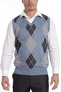 Men's Soft Stretch Solid and Argyle V-Neck Casual Pullover Vest