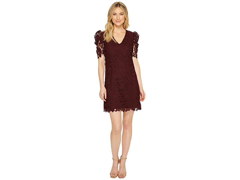 Donna Morgan V-Neck Shift Dress with Puff Sleeve (Wine Burgundy) Women