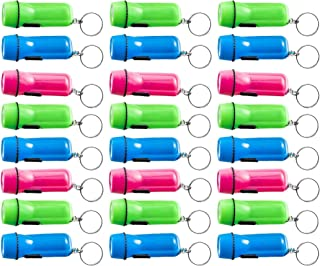Kicko Mini Flashlight Keychain - 24 Pack Assorted Colors, Green, Light Blue and Pink, Batteries Included - for Kids, Party Favor, Goody Bag Filler, Prize, Pocket Size, Chain for Key