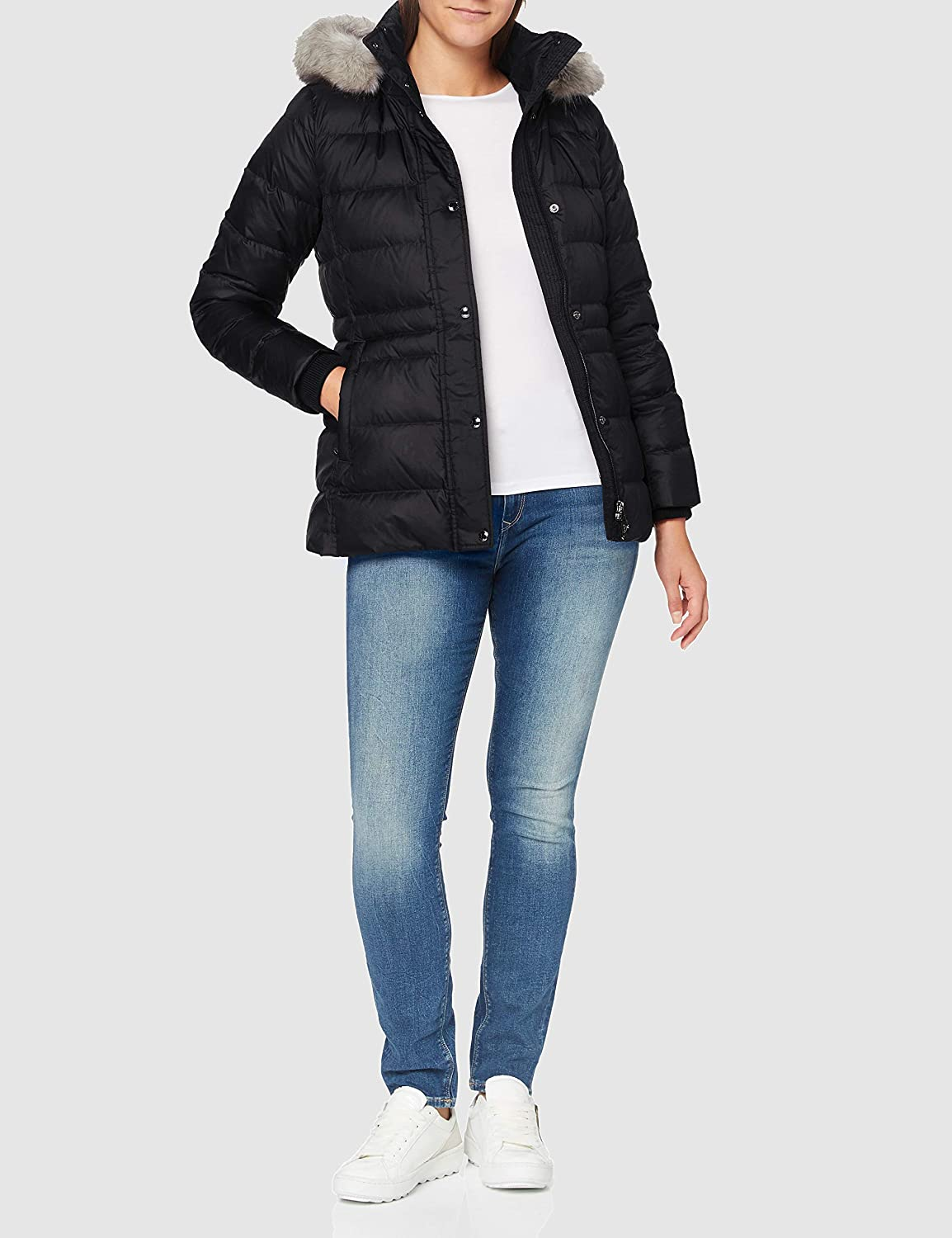 Tommy Hilfiger Womens Th Ess Tyra Down Jkt With Fur Jacket