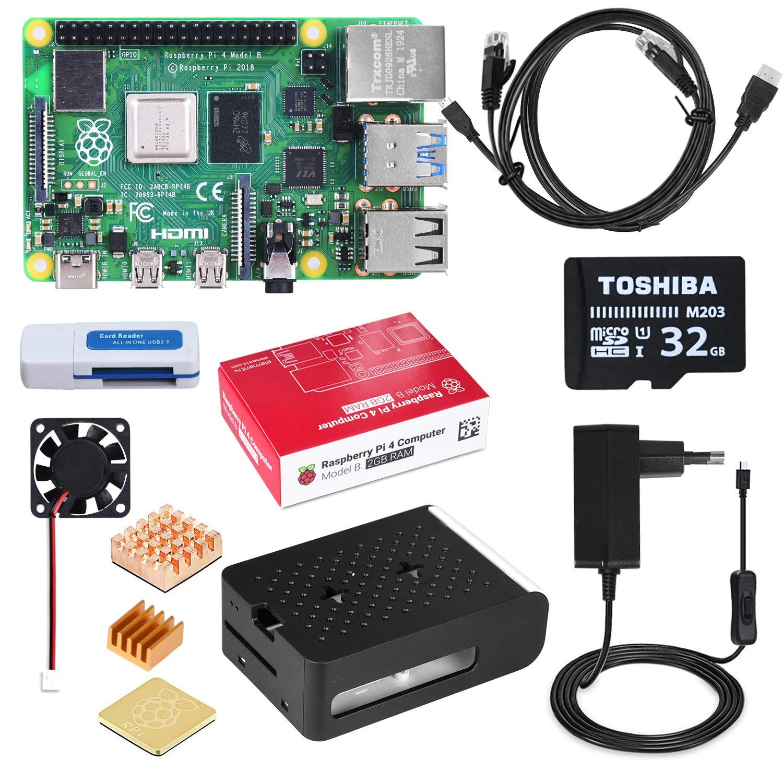 DINOKA Raspberry Pi 4 Starter Kit con Micro SD de 32GB Clase 10, 5V 2.5A