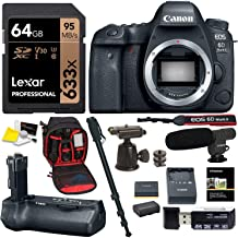 Canon EOS 6D Mark II Digital SLR Camera Body with Canon Battery Grip, Lexar 633x U3 64GB Memory Card, SLR Camera Backpack, Monopod with Ball Head and Accesory Bundle