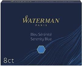 Waterman Fountain Pen Ink Cartridges, Long, Serenity Blue, 8 Count