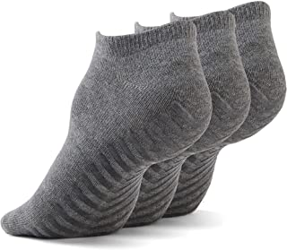 Gripjoy Non Slip Socks for Women and Men (3 pairs) - Low Cut Grip Socks for Hospital, Yoga, Pilates, Pure Barre