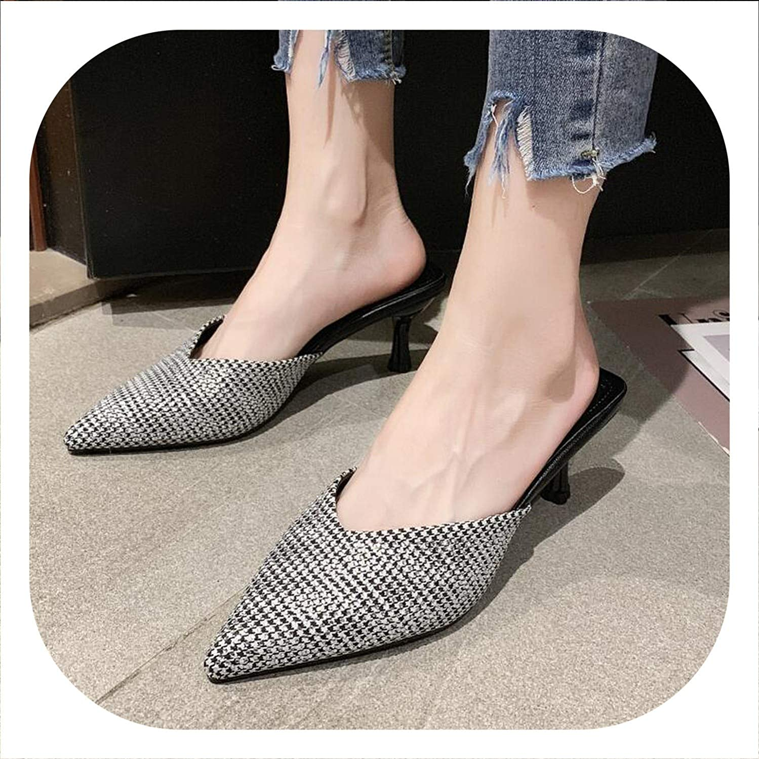 HANBINGPO 2019 Houndstooth Strange Style Women Mules Pointed Toe High Heel Women Pumps Elegant Women Office shoes