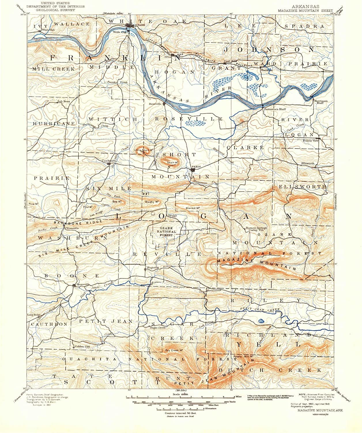 Magazine Mountain AR topo map, 1 125000 Scale, 30 X 30 Minute, Historical, 1890, Updated 1949, 20.7 x 17.1 in