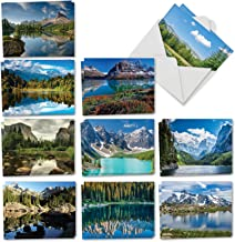 Reflections - 20 Gorgeous Landscape Blank Note Cards with Envelopes (4 x 5.12 Inch) - Beautiful Mountain, River Scenery - Assorted Notecard Set for All Occasions (10 Designs, 2 Each) AM1728OCB-B2x10
