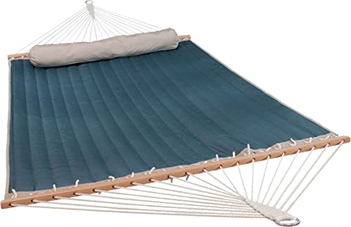 2021 Sunnydaze 2 Person Quilted Fabric sale Hammock with Spreader Bars and Detachable Pillow, Outdoor online sale Patio and Backyard, 440 Pound Capacity, Tidal Wave online