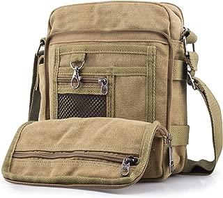 SPAHER Men Canvas Hiking Backpack Large Unisex Laptop Business School Satchel Holdall Weekend Travel Overnight Outdoor Shoulder Casual Bag Khaki