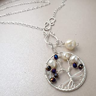 Tree-of-Life Charm Alexandrite Pearl Moonstone Set