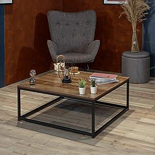 MEUBLE COSY Table Basse Salon Moderne Structure en Métal Meuble de Rangement Design, Chêne, 80x80x34cm