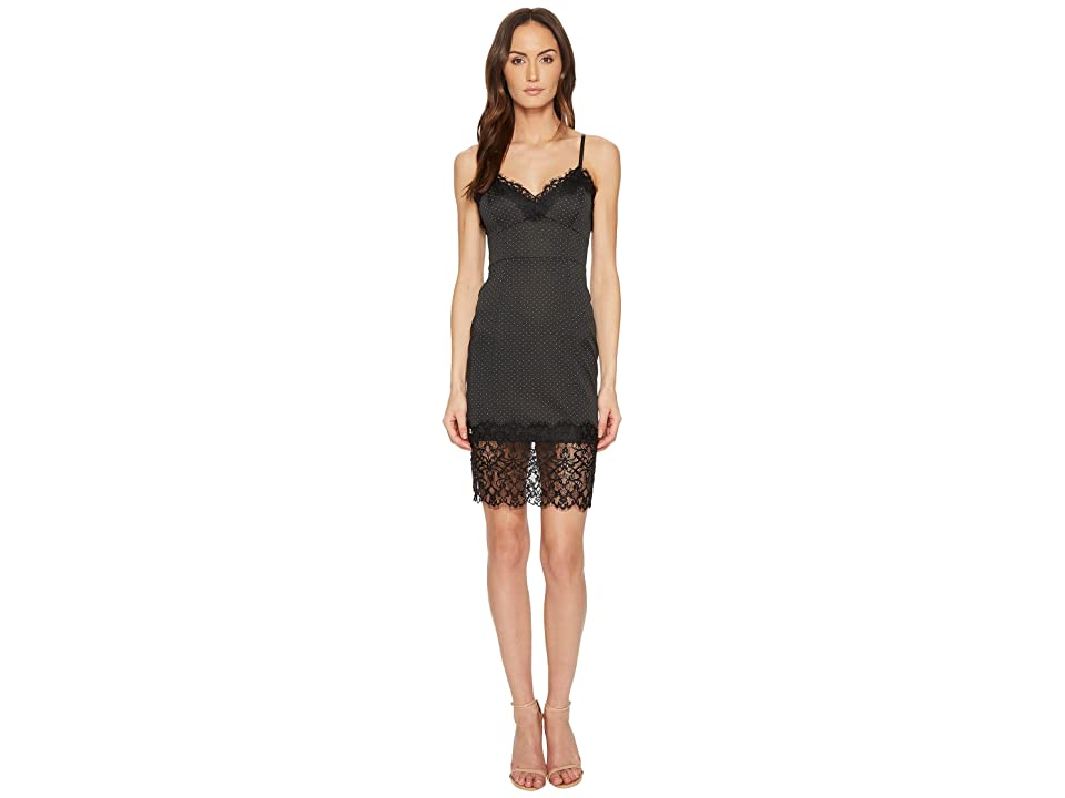 Manila Grace Lace Trim Cami Slip Dress (Black) Women
