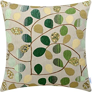 CaliTime Cushion Cover Throw Pillow Case Shell for Couch Sofa Home Decoration Luxury Chenille Cute Leaves Both Sides 16 X 16 Inches Ecru Green