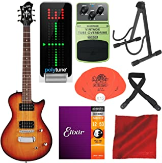 Hagstrom Ultra Swede ESN Electric Guitar Tobacco Sunburst with TC Electronic PolyTune Polyphonic Tuner, Behringer TO800 Vintage Tube Overdrive Pedal, Guitar Stand, and Deluxe Accessory Bundle