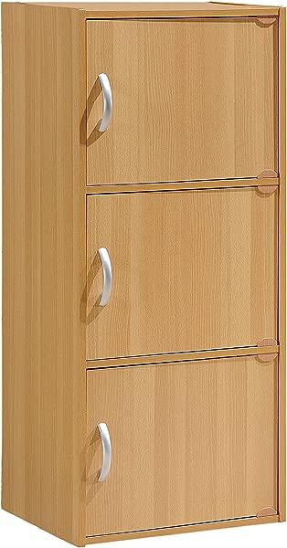 Hodedah 3 Door Three Shleves Enclosed Storage Cabinet Beech