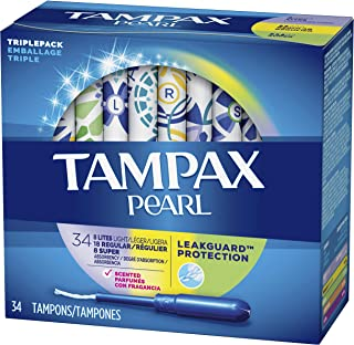 Tampax Pearl Tampons, Light/Regular/Super Absorbency with LeakGuard Braid, Triple Pack, Scented, 34 Count