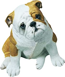 Sandicast Life Size Fawn Bulldog Puppy Sculpture, Sitting