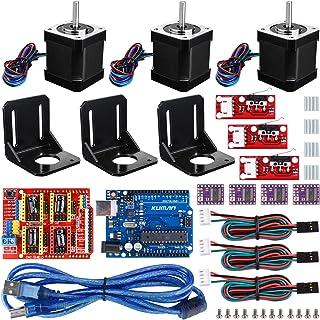 kuman Profesional Impresora 3D CNC Kit para Arduino, GRBL CNC Shield con R3 Board + RAMPS 1.4 Interruptor Mecánico Tope + DRV8825 GRBL Motor Paso a Paso Controlador de Calor + Nema 17 KB02