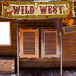 Wild West Sign Banner Western Banner Garland Sign West Cowboy Banner Hanging Party Decoration Westerns Day Sign 15.7 x 72 Inch