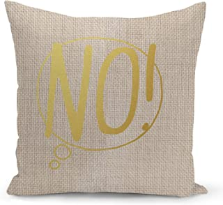 Speech Bubble No Beige Linen Pillow with Metalic Gold Foil Print Speech Set Couch Pillows
