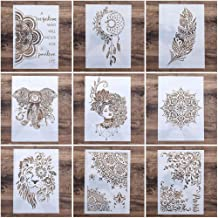 A4 Size DIY Craft Mandala Stencil for Painting Scrapbooking Stamping Stamp Album Paper Card Stencil Template, Pack of 9