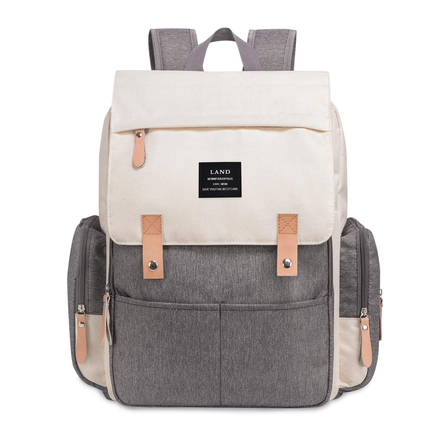 Diaper Bag Backpack Large Capacity for Baby Care Wide Open Design and Waterproof Fabric for Mom Dad (New White Grey)
