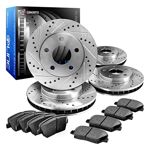 Eline Drilled Slotted Brake Rotors + Ceramic Pads Kit Bmw 323,325,328, (E46)
