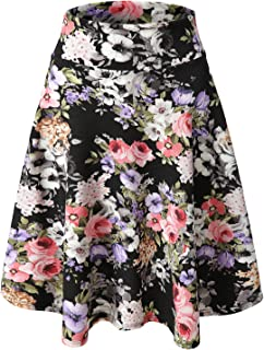 Luna Flower Women's Basic Versatile Stretchy Flared Casual Mini Skater Skirt (GSKW001)