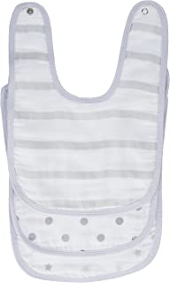 """aden by aden + anais Snap Bib, 100% Cotton Muslin, Soft Absorbent 3 Layers, Adjustable, 9"""" X 13"""", 3 Pack, Dove"""