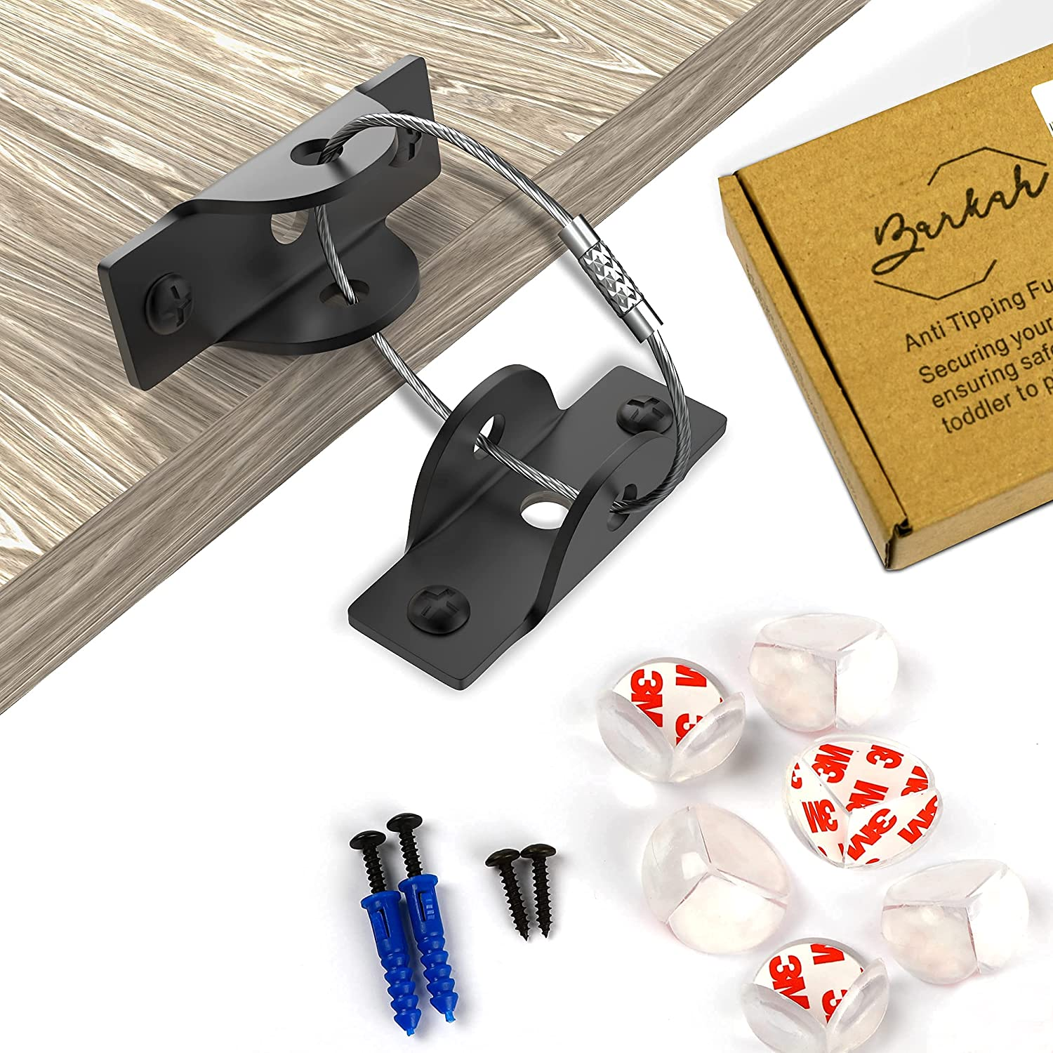 BARKAH Furniture Anchors (Pack of 6), Anti Tip Furniture Straps Kit for Baby Proofing, Heavy-Duty Furniture Wall Anchor for Baby Safety, Comes with Additional 6 Pieces of Corner Protectors for Baby