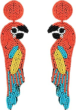 "Kenneth Jay Lane 4.5"" Multicolor/Coral Seedbead Parrot Post Earrings"
