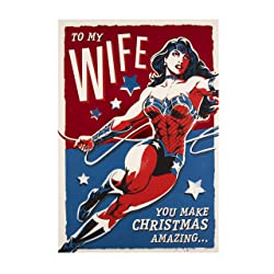 Christmas Card for Wife from Hallmark - DC Comics Wonder Woman Design