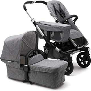 Bugaboo Donkey 2 Mono Baby Stroller, Foldable Stroller, Converts into Twin Side-by-Side Sibling Stroller, from Birth Baby Stroller, Infant Stroller, Multiple Seat Positions, Alu/Classic Grey Mélange